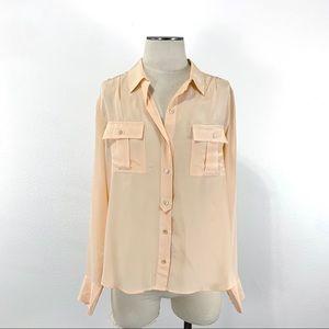 J. Crew Peach Silk Button Down Shirt Size 14